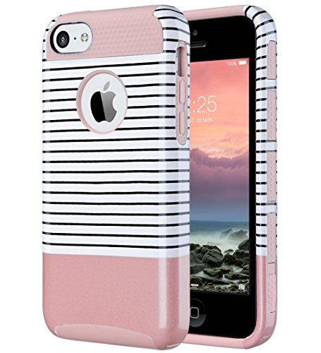 iPhone 5C Case, ULAK Slim Lightweight 2in1 iPhone 5C Cases Hybrid with Soft Rugged TPU Inner Skin and Hard PC Anti Scratches Protective Cover for Apple iPhone 5C-Minimal Rose Gold