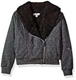 Image of Calvin Klein Little Girls' Sparkle Moto Sweatshirt, Dark Charcoal Heather, 4