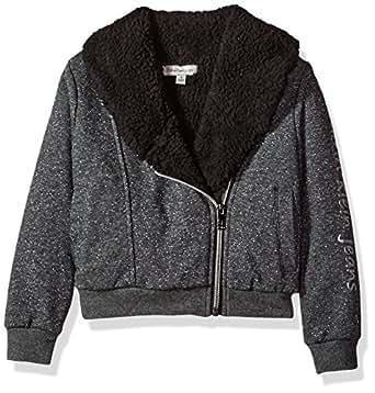 Calvin Klein Toddler Girls' Sparkle Moto Sweatshirt, Dark Charcoal Heather, 2T