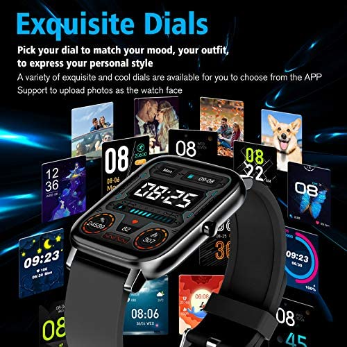 "Amokeoo Smart Watch,Fitness Watch Tracker with Heart Rate Blood Pressure Monitor IP67 Waterproof Bluetooth Smartwatch 1.69"" Large Screen Sports Smart Watches for Android iOS Phones Men Women Black"