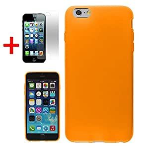 APPLE IPHONE 6 PLUS (IPHONE 6+) ~ ONE PIECE SOLID CASE TPU BODY COVER, ORANGE + SCREEN PROTECTOR