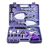 Vanshi Garden Tools Set, 10 Piece Gardening Tools Purple Flower Print, Gardening Kit Includes Ergonomic Trowel Rake Weeder Pruner Shears Sprayer Carrying Case, Gardening Gifts Set Women