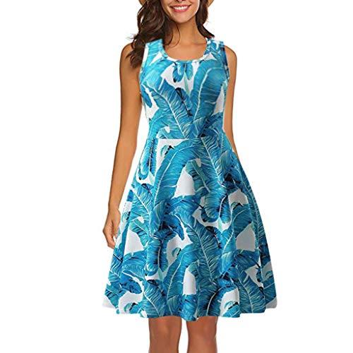 Women Sleeveless Printing Summer Dress TANGSen Ladies Fashion Beach A Line Casual Dress Loose Floral Dress