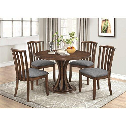 Coaster Home Furnishings Prescott 5-Piece Dining Set with Slat Back Side Chairs Vintage Cinnamon (5 Slat Back Piece)