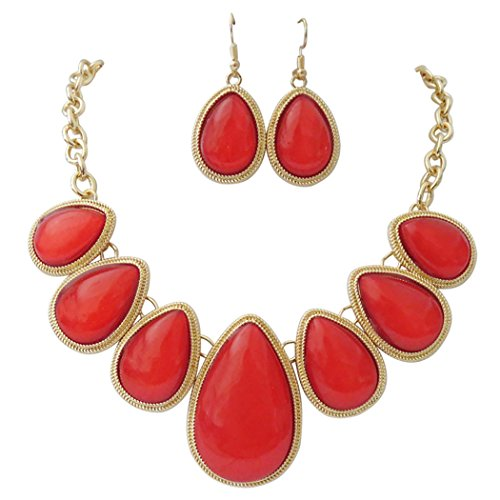 Ann Summers Costumes Christmas (Rosemarie Collections Women's Teardrop Statement Necklace Drop Earrings Set (Gold Tone/Red))