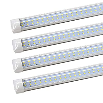 Integrated LED Tube Lights 8FT - Dual Dow 72W 7200LM 6000K Cool White, LED Tube Light Fluorescent Replacement, Great for Shop Garage Ceiling Warehouse, Clear Cover (50 Pack)