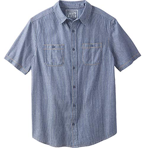 Denim Short Sleeves Shirt Stonewash - Liberty Blues Men's Big & Tall Short-Sleeve Utility Shirt, Railroad Stonewash Denim Big-5XL