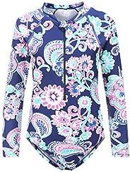 HowJoJo Girls One Piece Swimsuit Long Sleeve Swimwear Rash Guard Bathing Suits for Girls