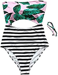 Fashion Women's Leaves Printing Stripe Halter One-piece Padding Swimsuit with Cutout