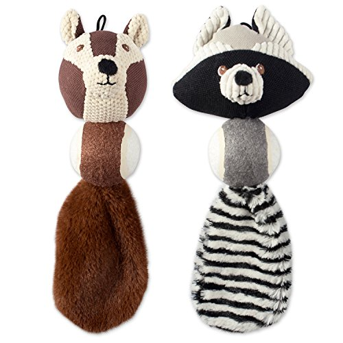 Tennis Tail Raccoon (DII Bone Dry Tennis Ball Body Squeaking Pet Toy, 2 Pieces Jack Squirrel & Roscoe Raccoon Woodland Friends Toy for Small, Medium and Large Dog)