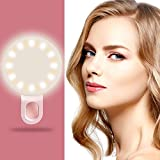 Selfie Ring Light for Camera, FayTun Clip on Cellphone LED Ring Light [Rechargeable Battery] for iPhone iPad Sumsung Galaxy Photography Phones - Pink