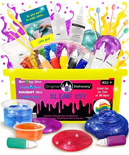 DIY Slime Kit for Girls Boys: Ultimate Slime Making Kit with Add Ins Supplies for Alien Egg Slime, Crystal, Glitter, Unicorn and More - Halloween Slime Supplies - Fun Slime Kits (Yellow, 44pcs)