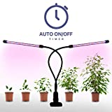 Plant Grow Lamp, Megulla Dual Head LED Grow Lights 10Inch Strips with Dimmer and Timer (3/9/12H) , Tri-Color, Free UL-Certified USB Adapter Included, for Indoor Plants, Greenhouse, Vegetables, Herbs and Bonsai Trees