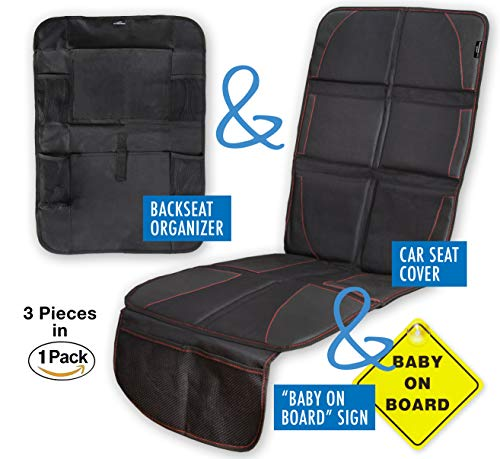 Car Seat Protector with Thick Padding for Under Baby Booster + Backseat Organizer& Kick Mat Protector with 5 Pockets, iPad and Tablet Holder + Baby on Board Sign