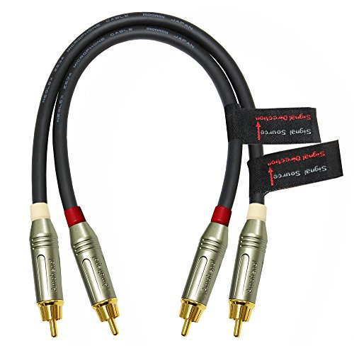 - 1 Foot – Directional Quad High-Definition Audio Interconnect Cable Pair CUSTOM MADE By WORLDS BEST CABLES – using Mogami 2534 wire and Amphenol ACPR Die-Cast, Gold Plated RCA Connectors