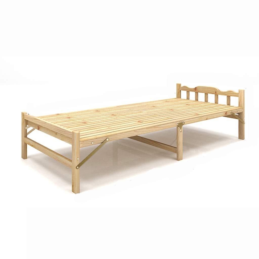 GuanBed Einfaches Design Tatami Bett Economy Modern Mietzimmer Einzel Lazy Pine Wood Klappbett Klappbett Wohnmöbel tragbar (Color : Wood Color, Size : 80cm)