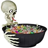Animated Halloween Candy Bowl with Comical, Speaking Skeleton Head
