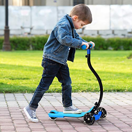 Costzon Kick Scooter, C Shaped Anti-Collision Scooter, Learn to Steer Foldable 3 Wheel Scooter w/Adjustable Height, LED Flashing PU Wheels, Brakes for Boys & Girls (Blue)