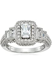 Sterling Silver White Cubic Zirconia Emerald Cut Bachelor Ring