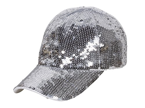 (Glitter Sequin Elastic Fit Baseball Hat - Silver)