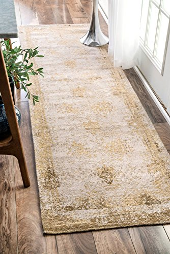nuLOOM Traditional Vintage Faded Abstract Runner Area Rugs, 2′ 6″ x 8′, Sand For Sale