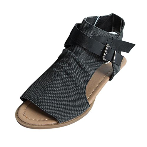 Nevera Women's Fish Mouth Toe Shoes Flat Heel Ankle Strap Balla Wedge Sandals Black ()