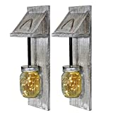Mason Jar Fairy Lights Rustic Lighting Hanging Sconce Set of 2, Indoor Outdoor Wood Farmhouse Boho Chic Handmade Wall Art Home Garden Yard Decor Battery-Operated Lamp Fixtures on Wooden Hangers