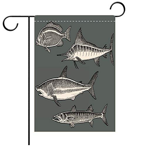 - BEICICI Custom Personalized Garden Flag Outdoor Flag Saltwater Fish Shark, Marlin, Barracuda, Snapper Best for Party Yard and Home Outdoor Decor