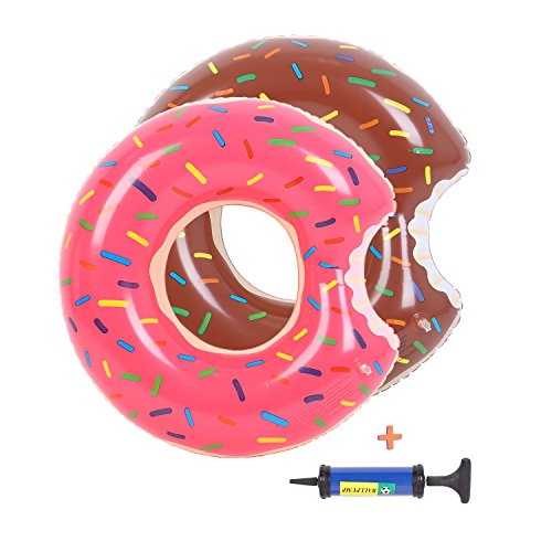 Buringer 2 Packs Donut Pool Float with Hand Pump,Inflatable Swimming Ring 70CM for Children Kids 3-10 Years (Strawberry & -