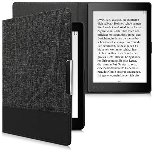 kwmobile Case Compatible with Kobo Aura ONE - PU Leather and Canvas e-Reader Cover - Anthracite/Black