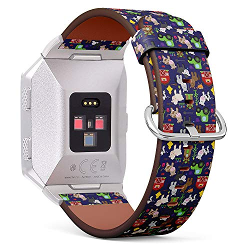 Compatible with Fitbit Ionic Leather Watch Wrist Band Strap Bracelet with Stainless Steel Clasp and Adapters (Tileable Farm Animal Barnyard)