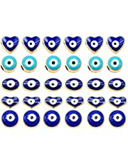 60pcs Mixed Round Heart Oval Evil Eye Beads Enamel Alloy Blue Small Eye Spacer Beads for Jewelry Making Craft DIY 8mm 10mm