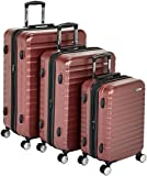 AmazonBasics Premium Hardside Spinner Luggage with Built-In TSA Lock - 3-Piece Set (20'', 24'', 28''), Red
