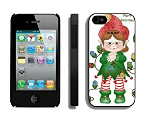 linJUN FENGCustomization Iphone 4S Protective Skin Case Merry Christmas iPhone 4 4S Case 47 Black
