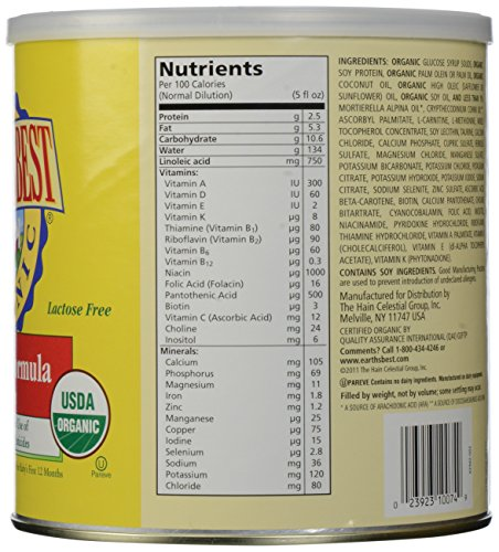Earth's Best Organic Soy Infant Formula with Iron, 23.2 Ounce