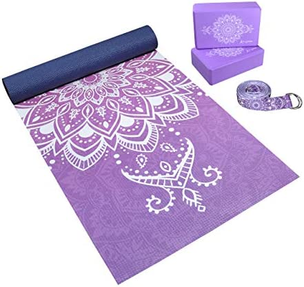 Complete Yoga Mat Gift Set - Unique All-Over Mandala Print - Eco-Friendly, Non-Toxic Yoga Gift Set Kit w/ 6mm Yoga Mat, 2 Blocks, 8' Strap - Artist Designed Yoga Starter Kit