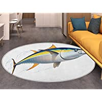 Fish Dining Room Home Bedroom Carpet Floor Mat Yellowfin Tuna Realistically Illustrated with Shadows and Water Details on Fins Non Slip rug Earth Yellow Blue