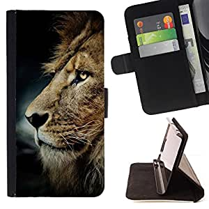 BullDog Case - FOR/Samsung Galaxy S6 EDGE / - / messy hair lion mane golden brown /- Monedero de cuero de la PU Llevar cubierta de la caja con el ID Credit Card Slots Flip funda de cuer