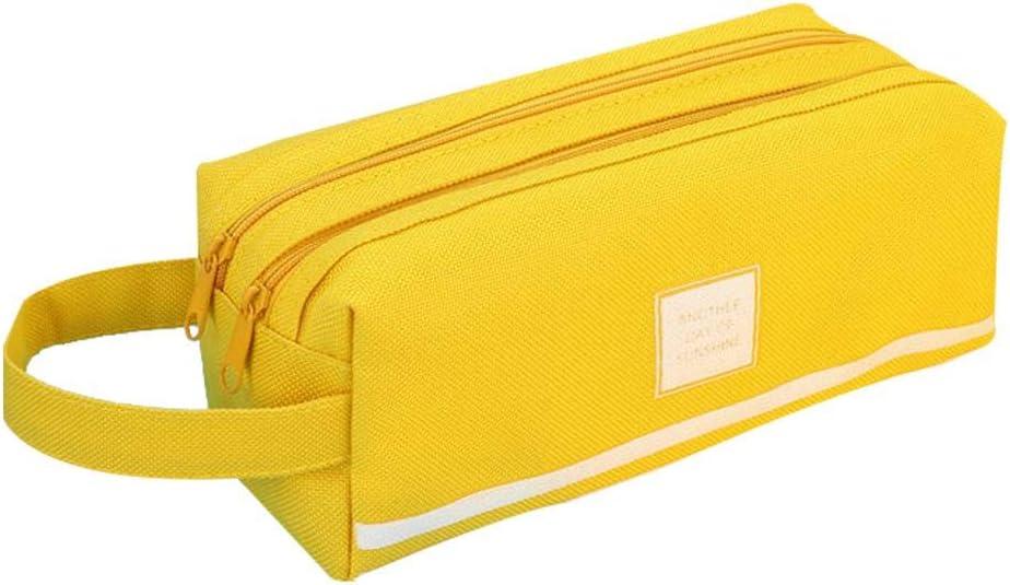 Wimagic - 1 estuche cuadrado de dos capas de lona de gran capacidad para bolígrafos, color amarillo: Amazon.es: Oficina y papelería