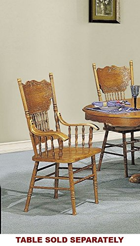 Oak Pressed Back Chairs (ACME 02186A-C Nostalgia Double Press Back Arm Chair, Oak Finish)