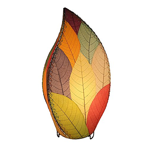 Eangee Home Design Indoor Outdoor Fossilized Cocoa Leaflet Lamp Multicolor Table Lamp