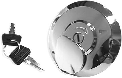 sourcing map para Moto YBR 80mm de Di/ámetro Metal Plateado Tap/ón del Dep/ósito de Gasolina con 2 Llaves