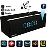 Neolavish Clock Spy Camera, Wireless Home Hidden Cam, Security Nanny Cam, (HD 1080p, Night Vision, Speaker, Motion Detection, WiFi, 140° View Angel, 3000 mA Battery, 8 IR Led Lights, MicroSD Card)