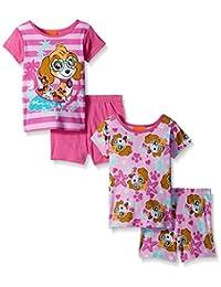 Nickelodeon girls Toddler Girls Paw Patrol Cotton 4-piece Pajama Set