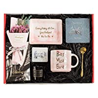 Gifts for Mom – Mom Gifts Set Includes Sterling Silver Necklace,Earrings, Pink Marble Jewelry Trays,Pink Marble Mug, Scented Candle and Flower – Best Mother's Day Birthday Gift Set