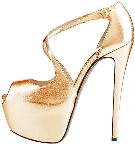 Ubeauty Ladies Pumps Tacchi A Spillo Tacchi Alti Sandali Oversize Glitter Con Plateau Corss Cinturino Alla Caviglia Scarpe Oro Pu