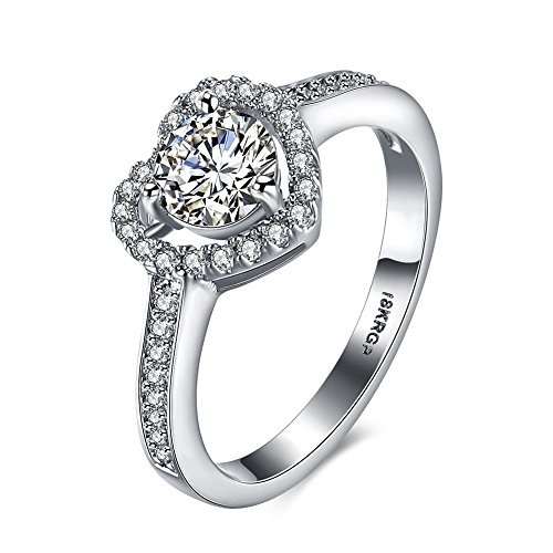 Eternity Love Women Wedding Engagement Rings 18K Gold Plated Cz Diamonds Bands Solitaire Princess Cut Promise Anniversary Bridal Jewelry Infinity Love for Her, 8