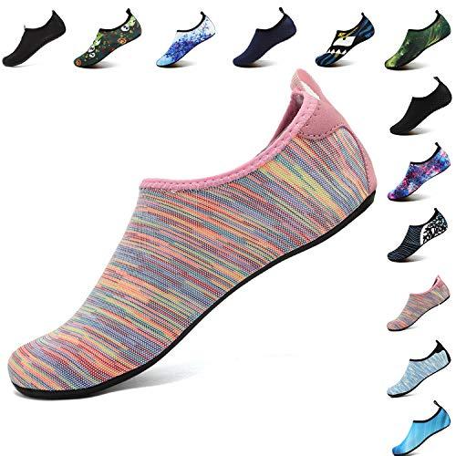 VIFUUR Unisex Quick Drying Aqua Water Shoes Pool Beach Yoga Exercise Shoes for Men Women Colorfulpink