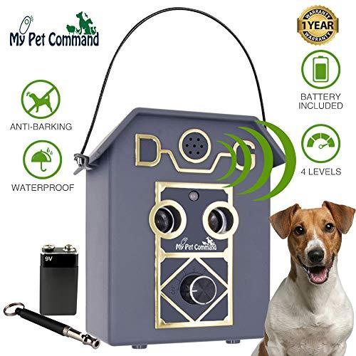 My Pet Command 50Ft Long Range Anti Barking Device, Auto Ultrasonic Dog Bark Deterrent, Dual Speaker Waterproof Outdoor…