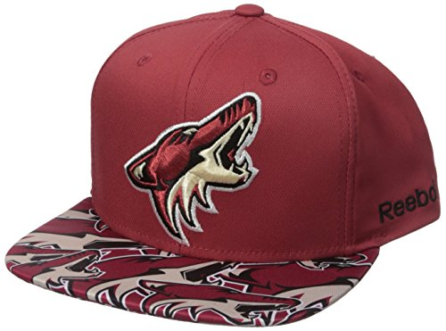 fan products of NHL Arizona Coyotes Men's SP17 All Over Print Flat Brim Snapback Hat, Red, One Size